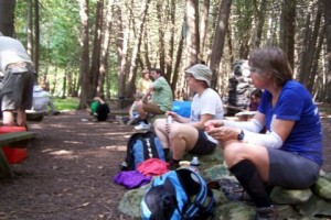 Hikers take a rest and enjoy some treats!